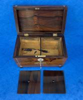 William IV Rosewood Twin Section Tea Caddy with Inlay (11 of 11)