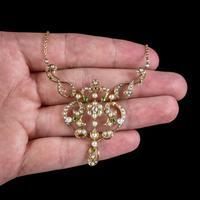 Antique Edwardian Pearl Diamond Green Garnet Lavaliere Necklace 15ct Gold c.1905 (6 of 8)