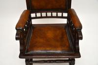 Antique Victorian Leather Rocking Chair (5 of 9)