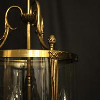 French Convex Gilded Triple Light Antique Lantern (4 of 10)