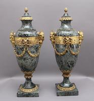 Pair of 19th Century French Marble & Cassoulet Urns (2 of 13)