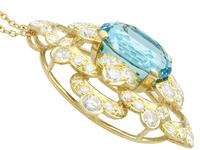 22.32ct Aquamarine, 7.62ct Diamond & 18ct Yellow Gold Pendant - Vintage c.1950 (4 of 9)