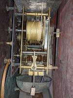 19th Cent Mahogany Moon Dial Longcase Grandfather Clock (4 of 5)