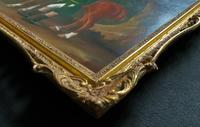 Lovely Large Primitive School Rococo Framed Oil Portrait Painting Horse & Rider (12 of 13)