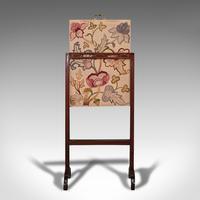 Antique Needlepoint Fire Screen, English, Mahogany, Fireside Guard, Regency (8 of 12)