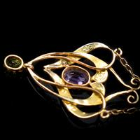 Antique Amethyst Peridot and Pearl Lavalier 9ct 9K Gold Pendant and Chain Necklace (10 of 10)