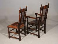 Well Carved Set of 5 '4+1' Carolean Style Oak Chairs c.1910 (6 of 9)