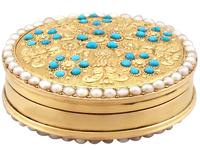 12ct Yellow Gold, Pearl & Turquoise Pill Box - Antique c.1815 (4 of 9)