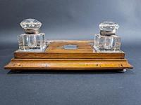 Edwardian Silver Mounted Inkwell & Stand (4 of 6)