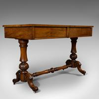 Antique Library Table, English, Flame Mahogany, Sofa, Regency Period c.1820