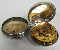 Antique Silver Pair of Case Pocket Watch Fusee Verge Escapement Key Wind Enamel Dial Thomas Cooker Oakham (8 of 12)
