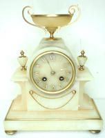 Wonderful French 8-Day Mantel Clock Alabaster Clock with Ormolu Mounts Striking A Bell (11 of 12)