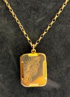 Art Deco 9ct Back & Front Gold Locket on Chain (8 of 10)