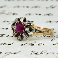 The Antique Victorian Ruby & Ten Diamond Ring (2 of 5)