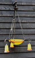 Striking Early 20th Century French Art Glass Chandelier / Ceiling Pendant Light / Hanging Lamp (3 of 4)