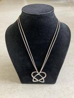 """Danish Silver Heart Pendant on """"double"""" Chain. 1960s (4 of 5)"""