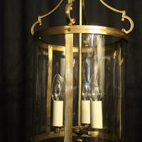 French Pair Convex Triple Light Antique Lanterns (5 of 9)