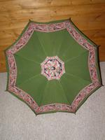 Vintage 12ct Rolled Gold Ladies Umbrella W/ Green Paisley Pattern Cotton Canopy (4 of 13)