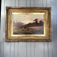 Antique Victorian Large Landscape Oil Painting in Ornate Gilt Gesso Frame Signed H Jones (10 of 10)