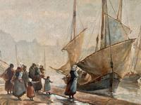European School 19th Century Oil on Board, Coastal Scene (2 of 5)