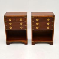 Pair of Military Campaign Style Mahogany Bedside Cabinets (2 of 9)