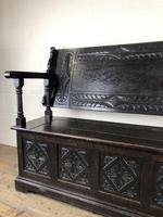 Early 20th Century Stained Oak Monk's Bench (13 of 14)