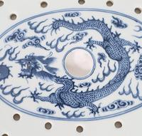 Chinese 19th Century Blue & White Oval Strainer Dish (6 of 7)
