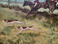 'The Fox Hunt' Original Vintage Country Sporting Pursuit Oil on Canvas Painting (6 of 17)