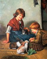 Huge Stunning 20thc Oil Portrait Painting Of 2 Children Playing In A Barn (6 of 12)