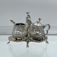 Antique Victorian Sterling Silver Condiment Set on Stand London 1879 George Fox (3 of 11)