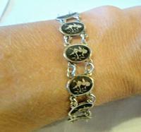 "Vintage Sterling Silver Enamel Bracelet 1960s Goddess of Love 7"" Length 9.1 Grams (12 of 12)"