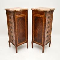 Pair of Antique French Marble Top Slim Chests of Drawers (6 of 11)