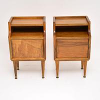 1960's Pair of Vintage Italian Walnut Bedside Cabinets (6 of 10)
