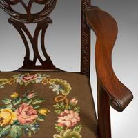 Antique Carver Chair, English, Mahogany, Needlepoint, Elbow, Chippendale Style (4 of 12)