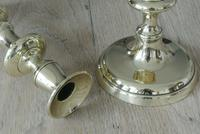 """Pair of Victorian Brass Candlesticks c.1840-1860 Round Base Through Pushers 10"""" (3 of 6)"""