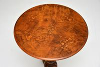 Antique Victorian Inlaid Burr Walnut Side Table (7 of 8)