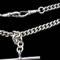 Birmingham 1922 Sterling Silver Double Albert Watch Chain Necklace (9 of 10)
