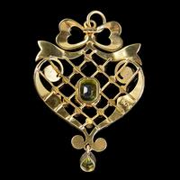 Antique Edwardian Suffragette Pendant Peridot Pearl Ruby 15ct Gold c. 1910 (4 of 6)