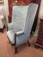 Early Victorian Antique Porter's Barrel Back Wing Armchair (2 of 6)