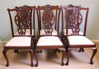 Antique Set of Six Antique Mahogany Chippendale Style Dining Chairs (9 of 9)