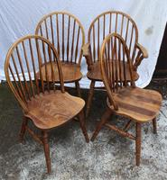 1940s Set 4 Ash Comb Back Chairs. 3 + 1 Carver (2 of 3)