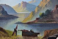 Tranquil 19th Century Gouache Mountain Lakeside Scene (3 of 4)