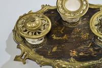 Rare 19th Century Gilt Bronze & Chinese Lacquered Inkwell (2 of 8)