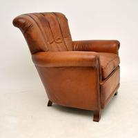 Antique French Style Leather  Club  Armchair (5 of 6)