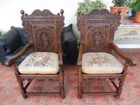 Pair of Victorian country oak wainscot chairs (Free shipping to Mainland England) (3 of 10)