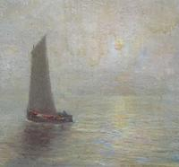 W. H. Renwick Small Edwardian Moonlit Sailing Seascape Oil Painting (6 of 11)