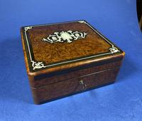 Victorian French Burr Cedar Jewellery Box with Inlay & Original Interior (2 of 13)