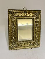 Victorian Brass Wall Mirror with Bevelled Glass c.1875 (2 of 4)