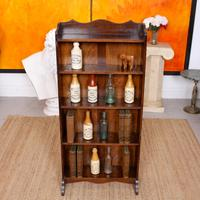 Carved Oak Open Bookcase Bookshelves (7 of 8)