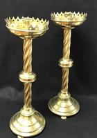 Pair of Wonderful Large Brass Gothic Revival Altar Candlesticks (5 of 7)